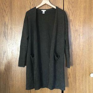 Olive green long cardigan